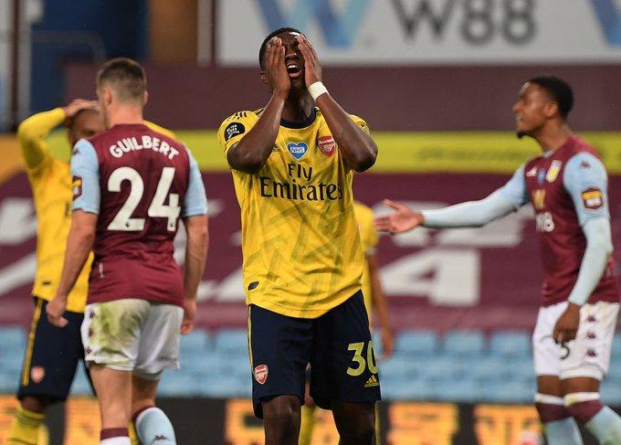 Arsenal striker Eddie Nketiah reacts to a missed chance against Aston Villa on July 21, 2020