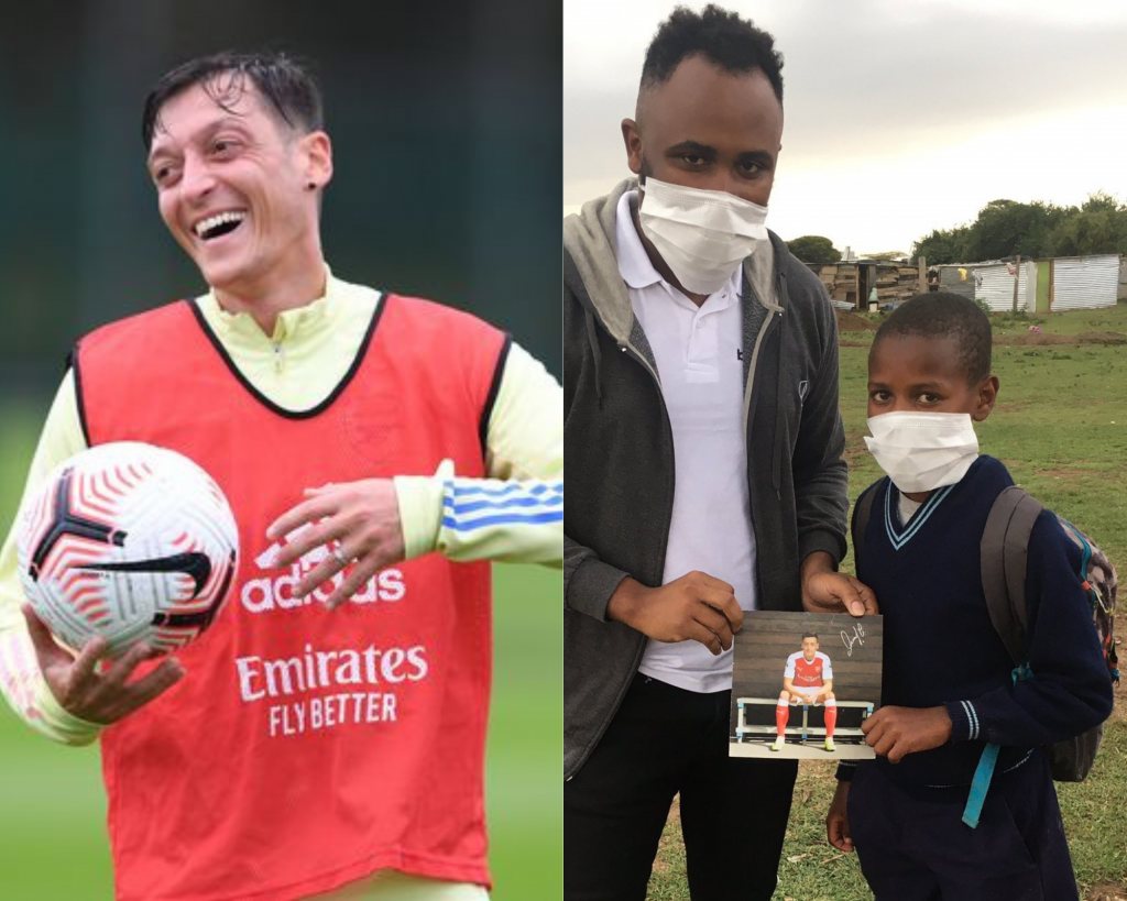 Mesut Ozil (left) and sports journalist Eric Njiru with Lawrence Masira (right).