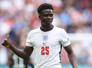 England and Arsenal star Bukayo Saka in action at Euro 2020. The Three Lions face off with Italy for continental glory on July 11, 2021 from 10.00 PM EAT. [Photo/ The Independent]