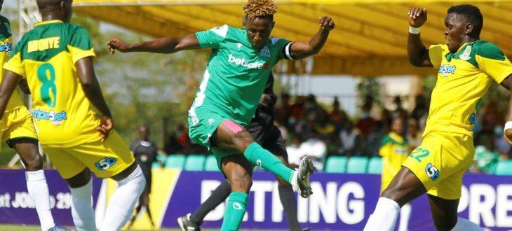 Gor Mahia star Kenneth Muguna in action against Mathare United. He is set to join Tanzania's Azam FC ahead of the 2021/22 season.